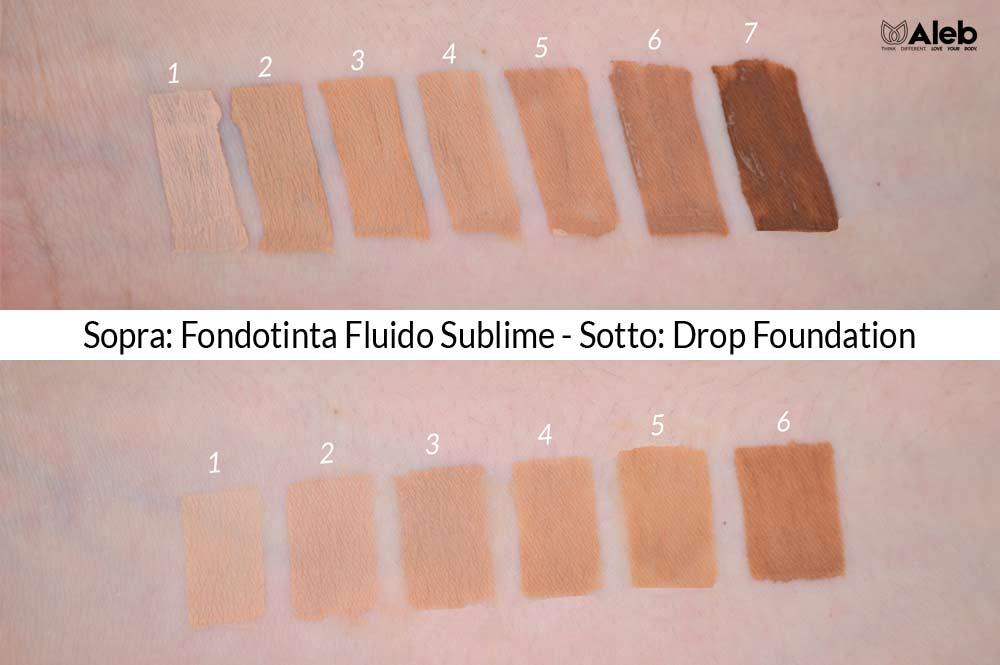 Confronto Colori Fondotinta Purobio Sublime Drop